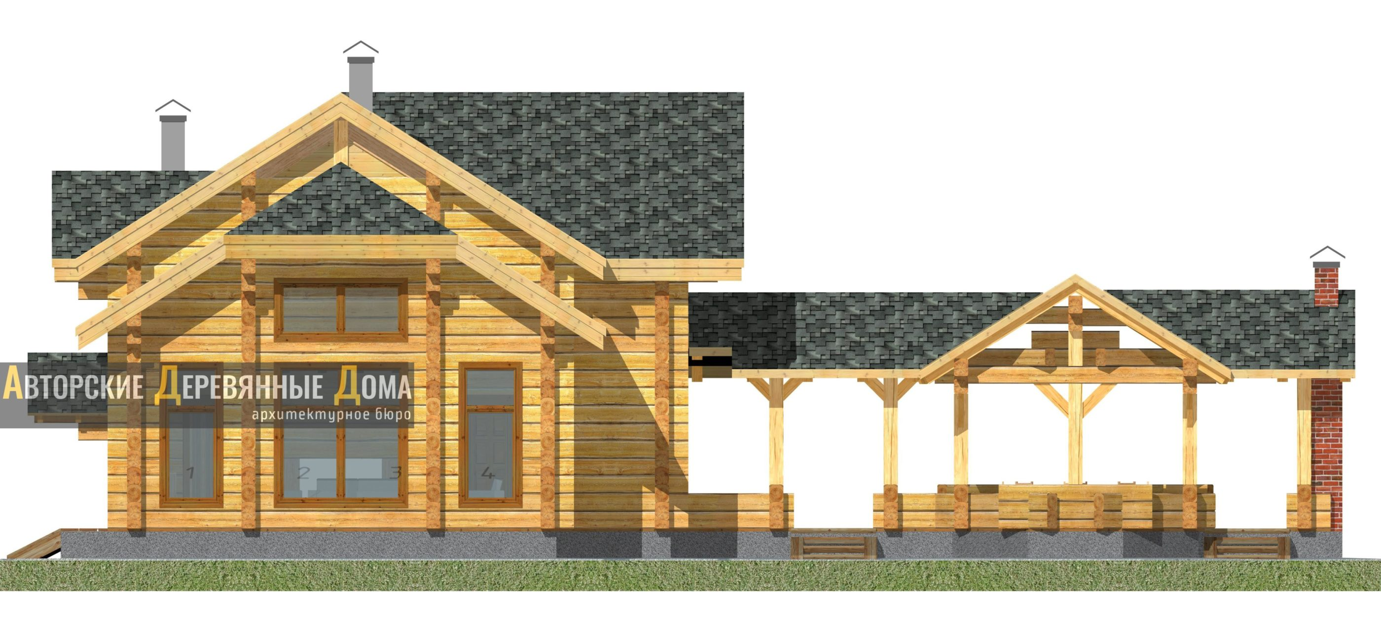 Дом-баня-беседка – фасад 1