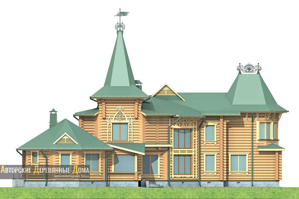 Рубленный дом с баней. Фасад 1