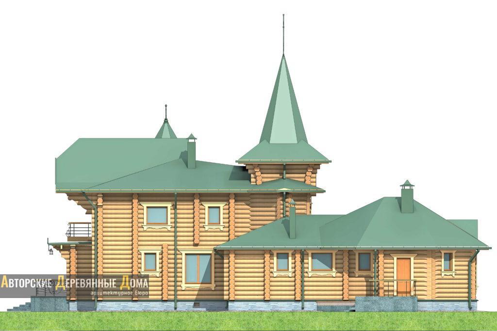 Рубленный дом с баней. Фасад 4