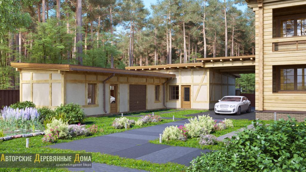 Проект - гараж с мастерскими в усадьбе «Шенген»