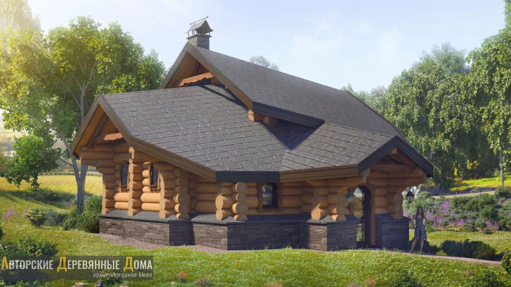 Проект бани из кедра — архитектурное бюро «Авторские Деревянные Дома»