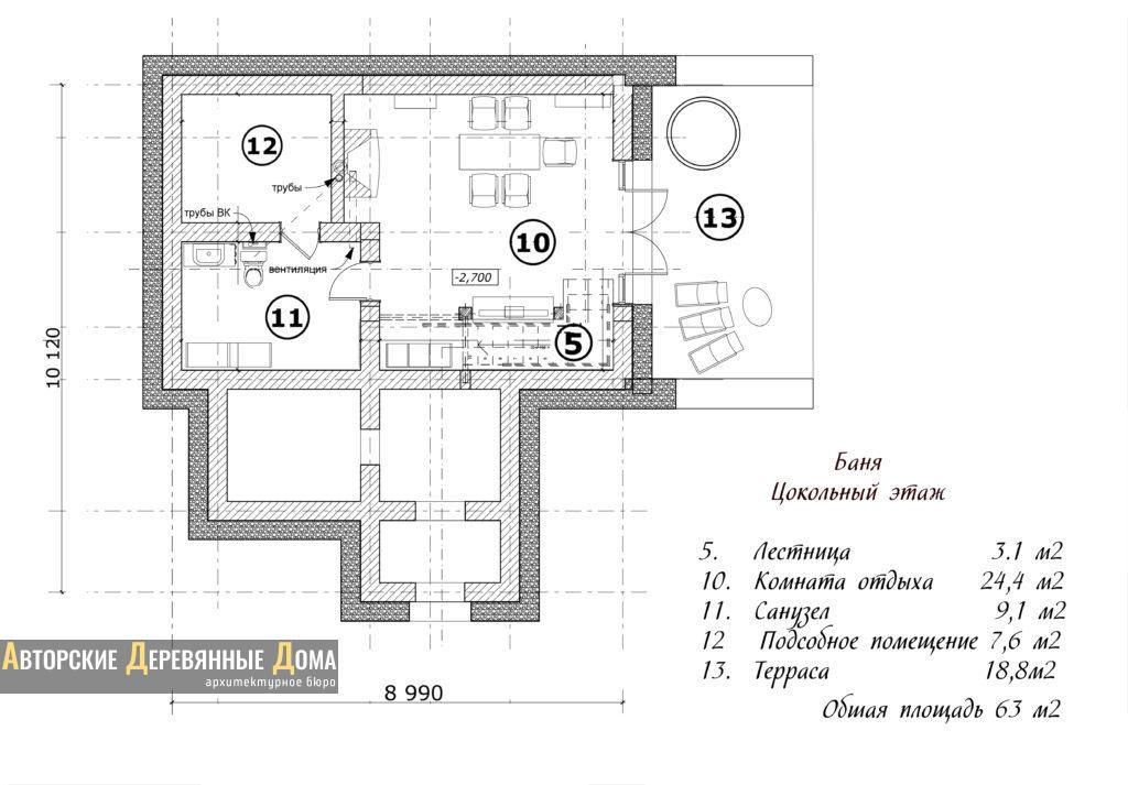 Планировка рубленной бани «Новатор»: цокольный этаж
