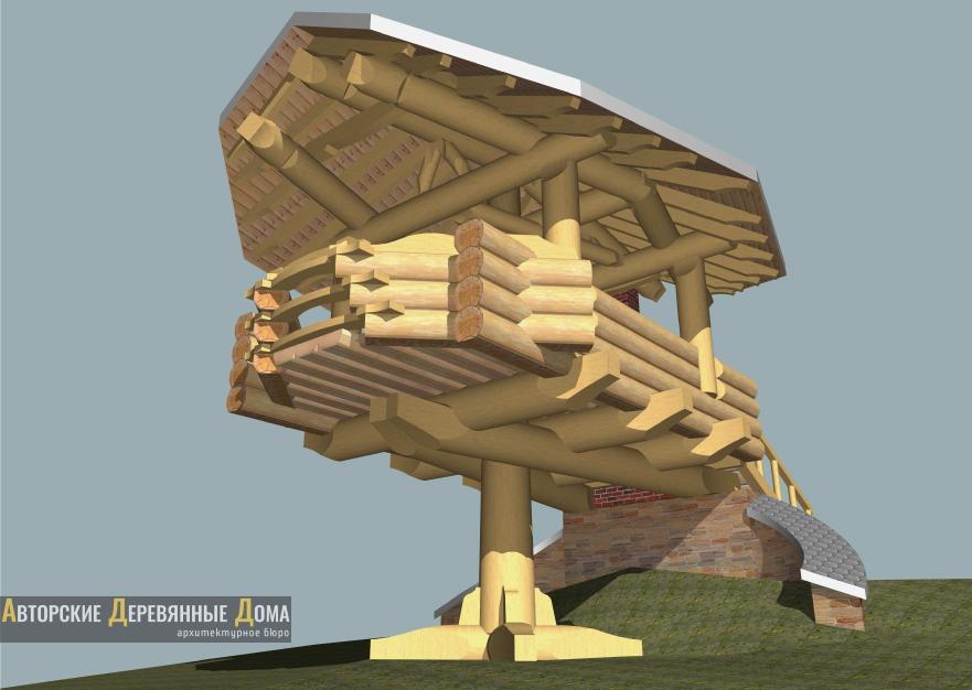 Рубленная беседка - барбекю в усадьбе «Новатор»: проектный вид